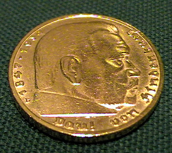 Gold plated 5 Reichsmark Hindenburg coin & Nazi Coins in Gold Plate