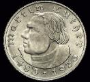 Third Reich Silver 2 Reichsmark Luther