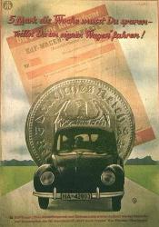 5 Reichsmark Nazi Coin and Volkswagon poster of the Third Reich.