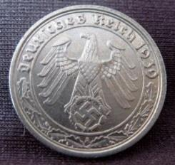 Third Reich Nazi 50 Reichspfennig nickel coin with swastika