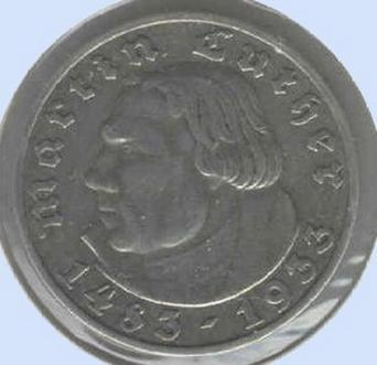 Third Reich 5 Reichsmark Luther Silver Coin