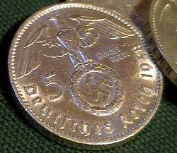 German Third Reich Reichsmark Silver coins with swastika