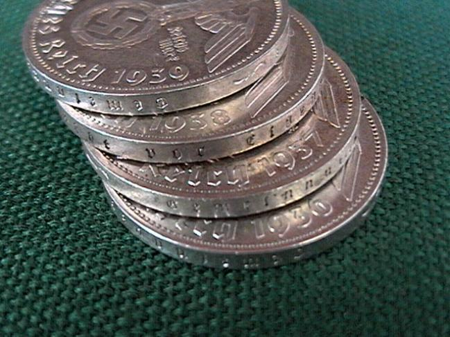 German Third Reich 5 Reichsmark silver coins with swastika