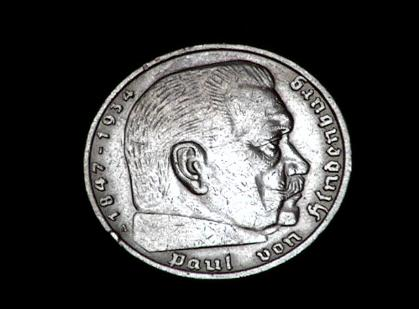 German Third Reich 5 Reichsmark Silver coin with swastika